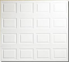 residential metal garage door with raised panels