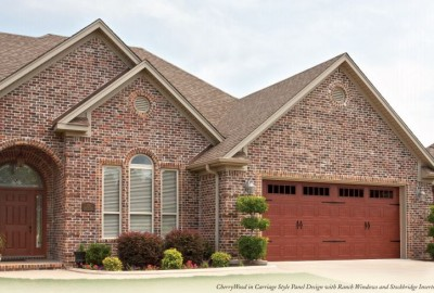 SteelWood Collection CherryWood in Carriage House Style Design with Ranch panel Windows and Stockbridge Inserts