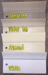 White, Almond, Wicker Tan, Sandtone perimeter seal