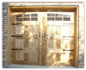8 x 7 Custom Wood Door Hardware with windows and hardware-1