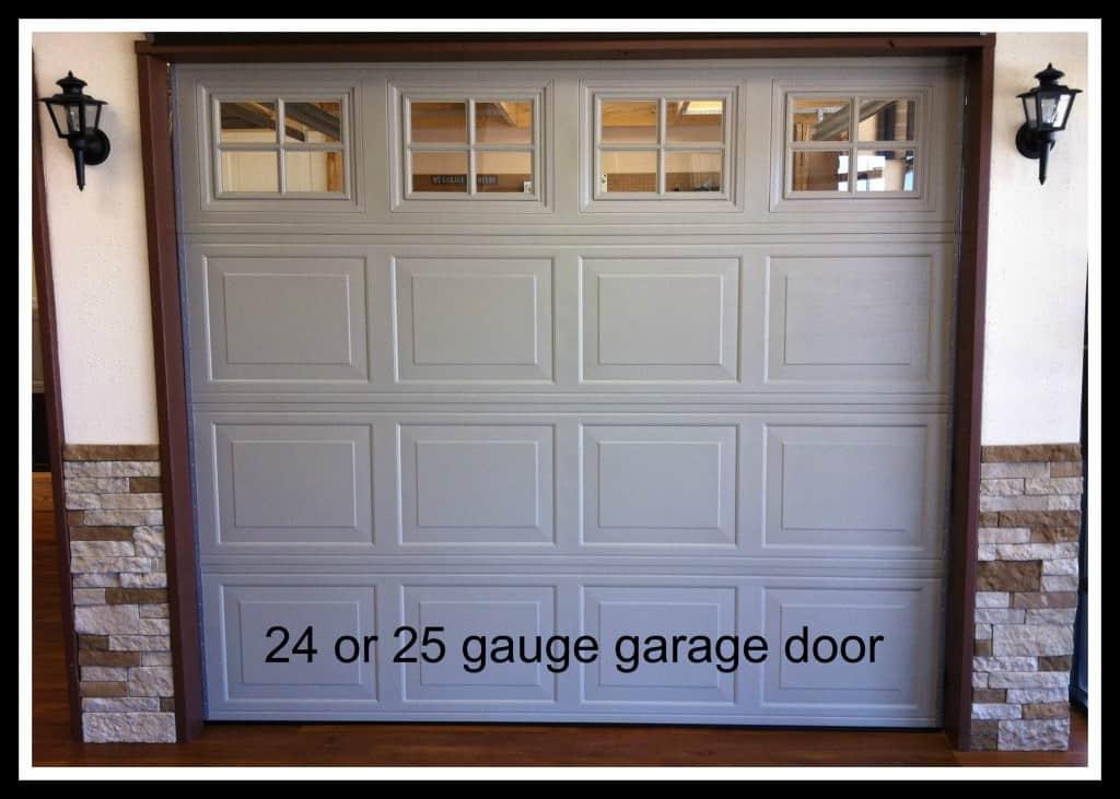 8 x 7 sandstone 24 ga steel garage door with windows