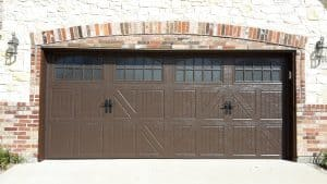 classica lucern danube garage door in brown with obscure glass