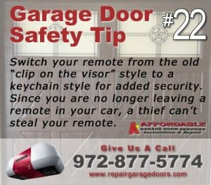 Garage Safety Tip 22 - Use a Keychain remote
