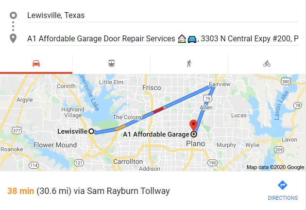 garage door repair lewisville tx showroom map
