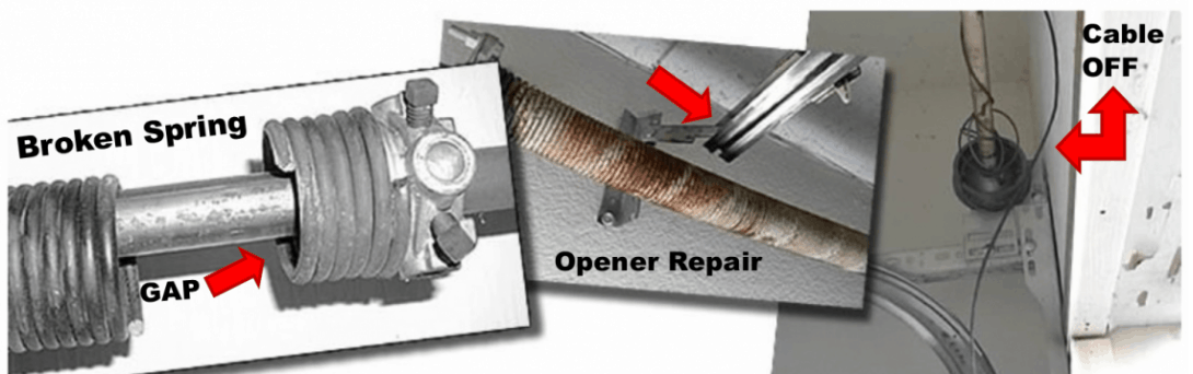 Broken spring cable off garage door opener repair