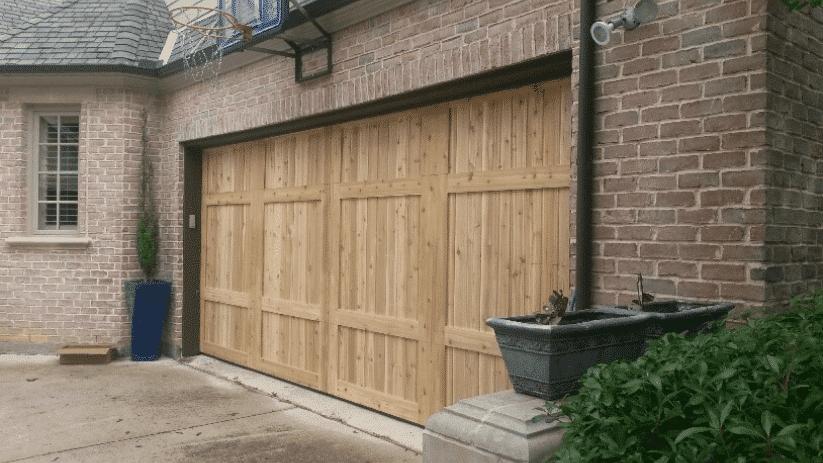 Cood Big outside custom cedar wood garage door