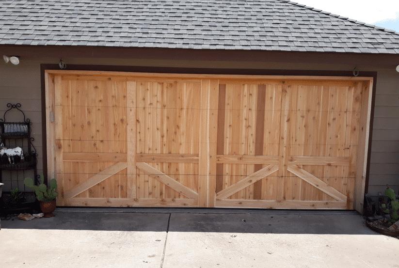 McGinnis after custom cedar garage door