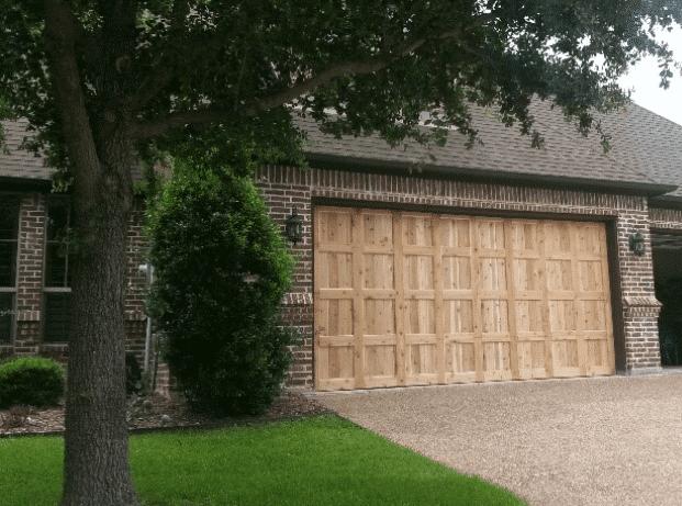Schatzline after custom cedar wood garage door