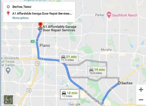Sachse Garage Doore Repair Map
